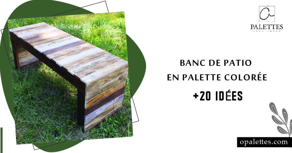 Banc de patio en palette colorée 1