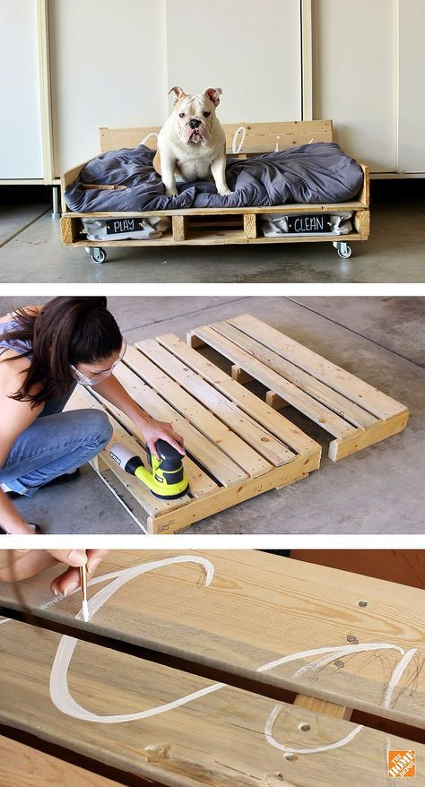 DIY Pallet Dog Bed on Casters