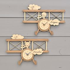 Superman design en bois horloge murale home art kids
