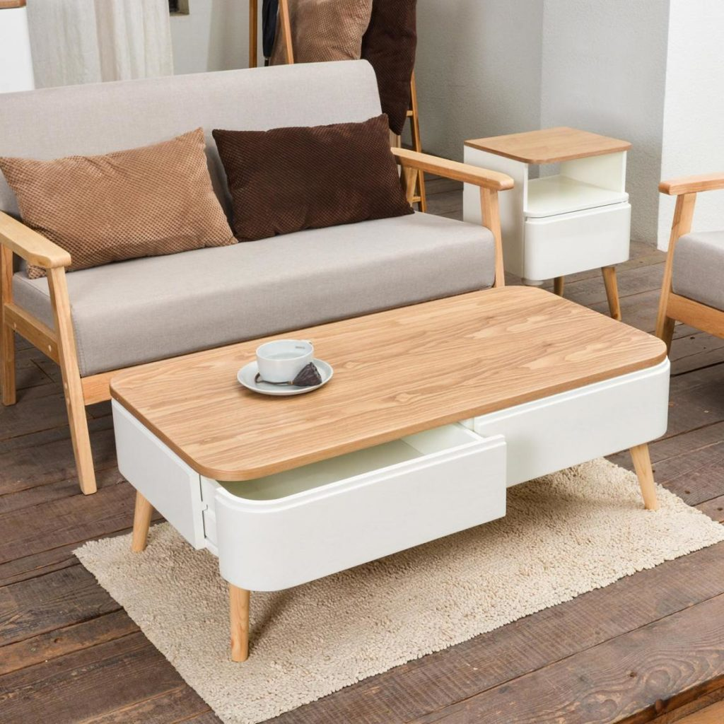 Table Basse Scandinave Bois Blanc