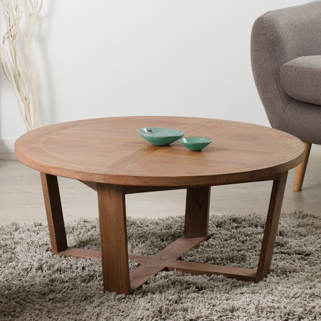 Table basse ronde cannelle bois