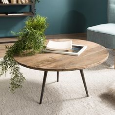 Table basse ronde industrielle en bois