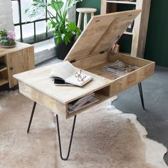 Table basse scandinave plateau relevable