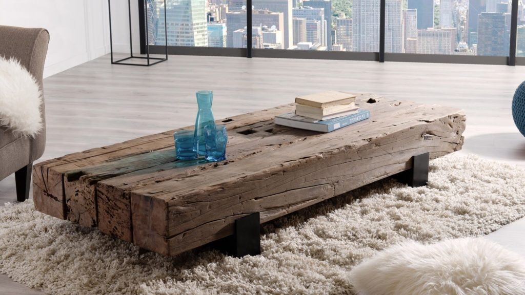 Table basse traverse en bois