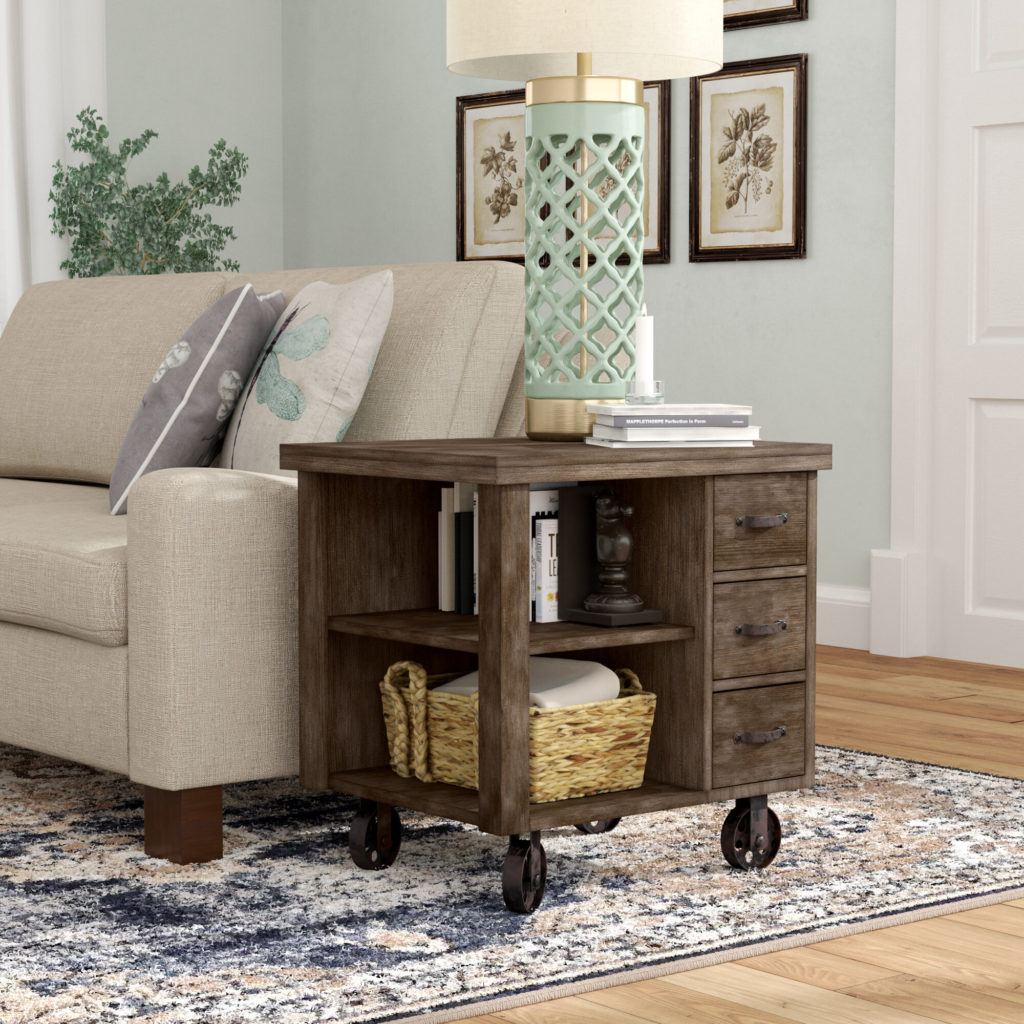 Table with Storage avec grandes roulettes