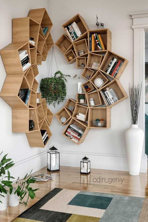 Wood Mandala Bookcase Design